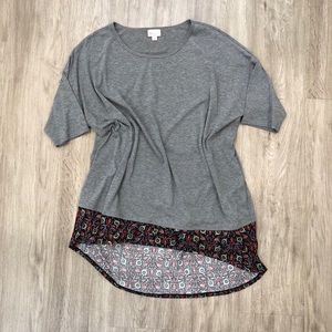 LulaRoe   Gray with Floral Patterned Bottom Irma